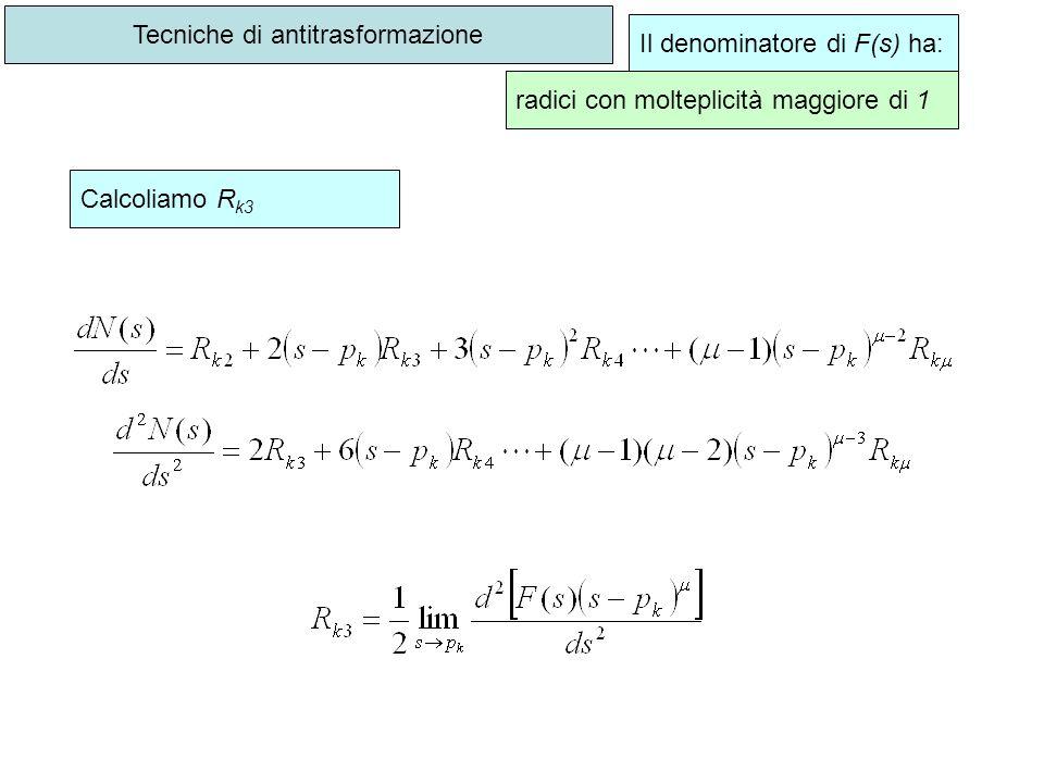 Tecniche di antitrasformazione Il denominatore di F(s) ha: radici con molteplicità maggiore di 1 Calcoliamo R k3