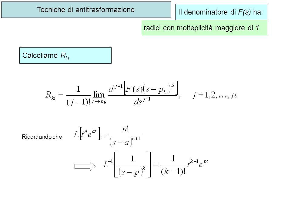 Tecniche di antitrasformazione Il denominatore di F(s) ha: radici con molteplicità maggiore di 1 Calcoliamo R kj Ricordando che