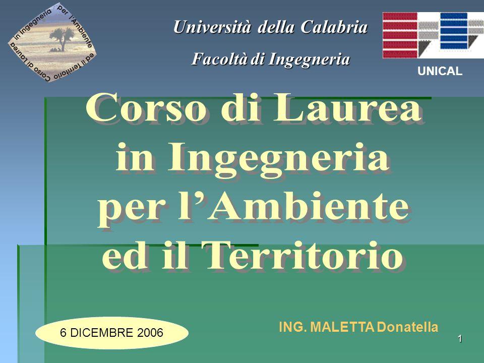 1 Università della Calabria Facoltà di Ingegneria UNICAL ING. MALETTA Donatella 6 DICEMBRE 2006