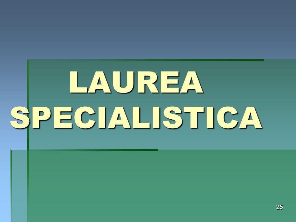 25 LAUREA SPECIALISTICA