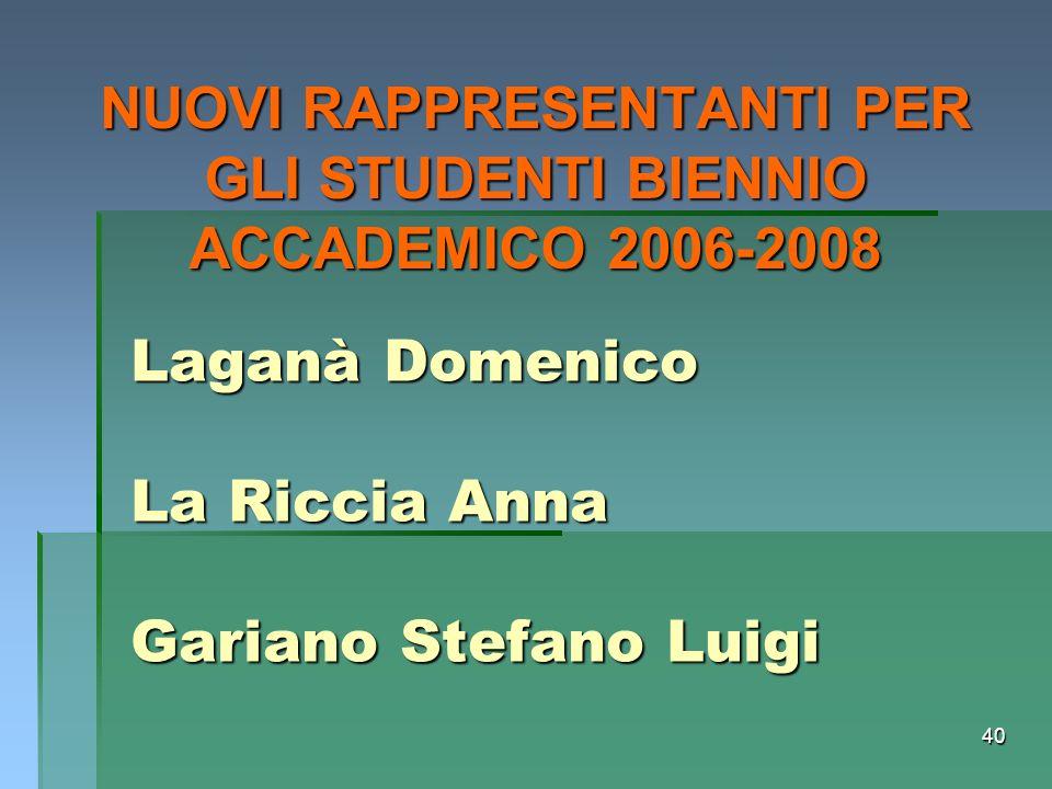40 Laganà Domenico La Riccia Anna Gariano Stefano Luigi NUOVI RAPPRESENTANTI PER GLI STUDENTI BIENNIO ACCADEMICO 2006-2008