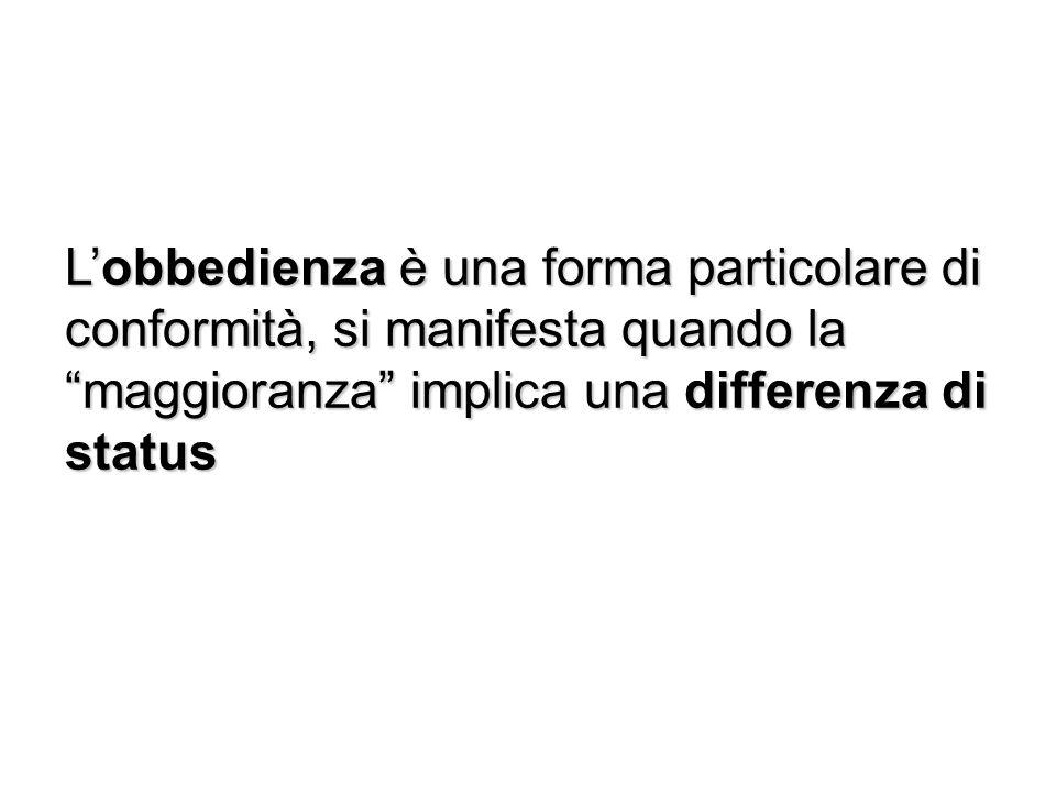 Lobbedienza è una forma particolare di conformità, si manifesta quando la maggioranza implica una differenza di status