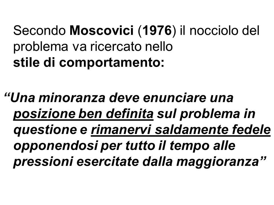 Secondo Moscovici (1976) il nocciolo del problema va ricercato nello stile di comportamento: Una minoranza deve enunciare una posizione ben definita s