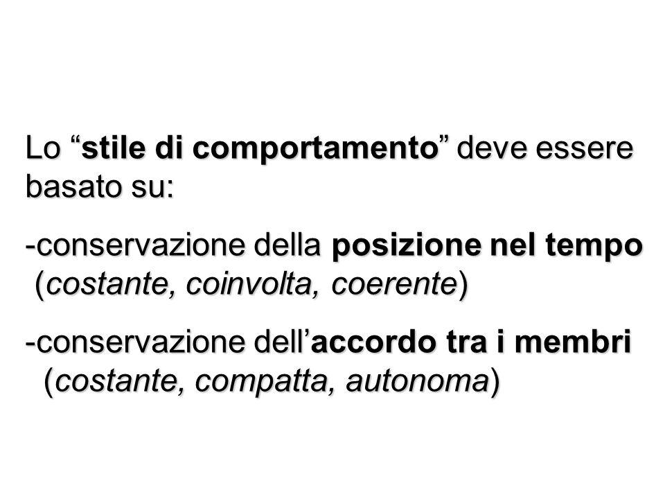 Lo stile di comportamento deve essere basato su: -conservazione della posizione nel tempo (costante, coinvolta, coerente) (costante, coinvolta, coeren