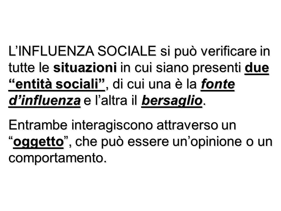 LINFLUENZA SOCIALE si può verificare in tutte le situazioni in cui siano presenti due entità sociali, di cui una è la fonte dinfluenza e laltra il ber