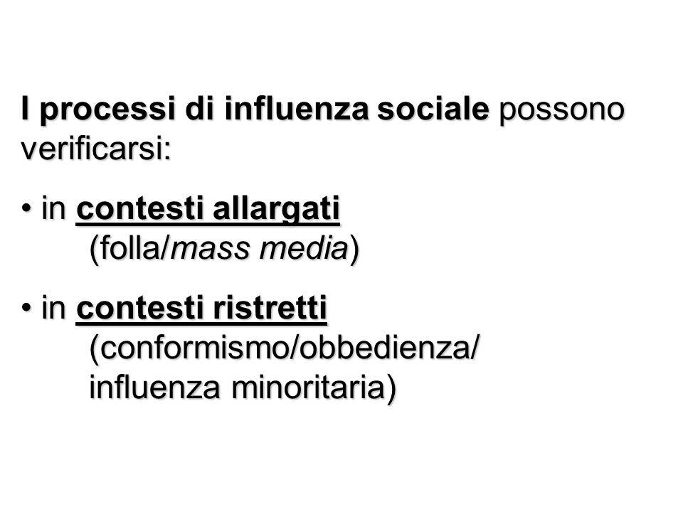 I processi di influenza sociale possono verificarsi: in contesti allargati (folla/mass media) in contesti allargati (folla/mass media) in contesti ris