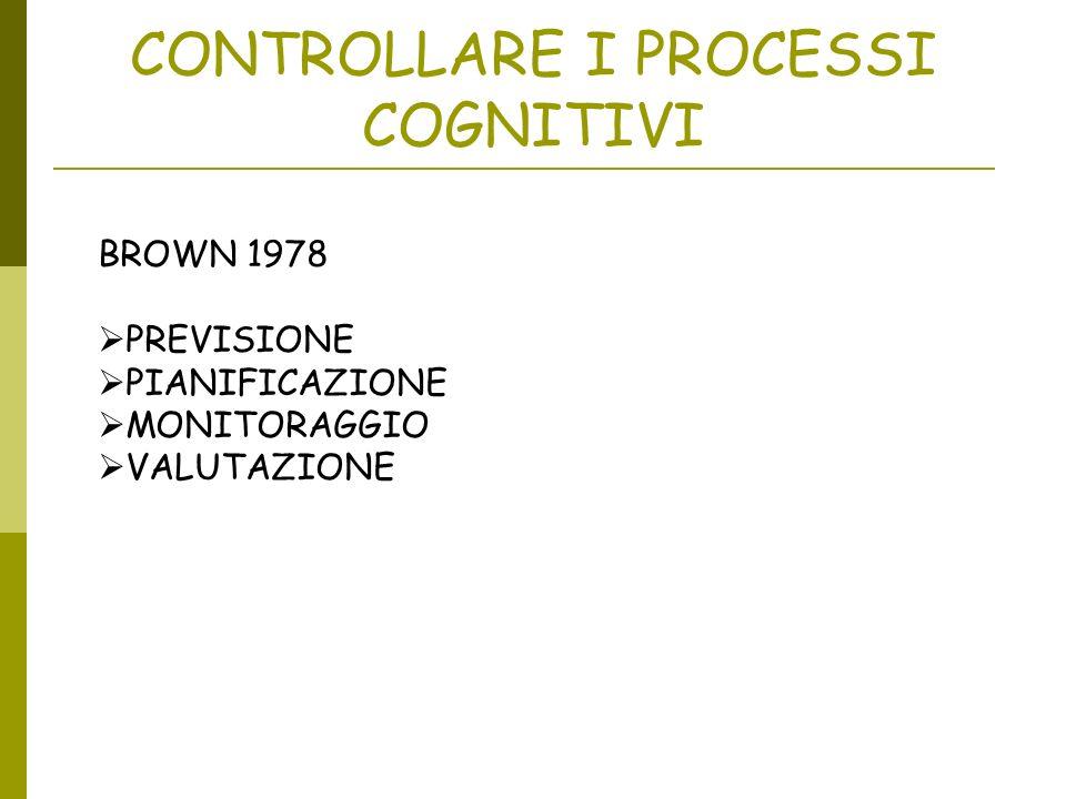 CONTROLLARE I PROCESSI COGNITIVI BROWN 1978 PREVISIONE PIANIFICAZIONE MONITORAGGIO VALUTAZIONE