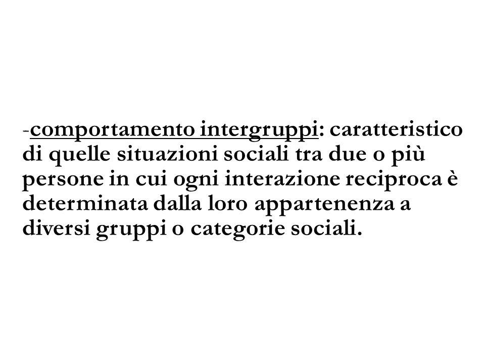 -comportamento intergruppi: caratteristico di quelle situazioni sociali tra due o più persone in cui ogni interazione reciproca è determinata dalla lo