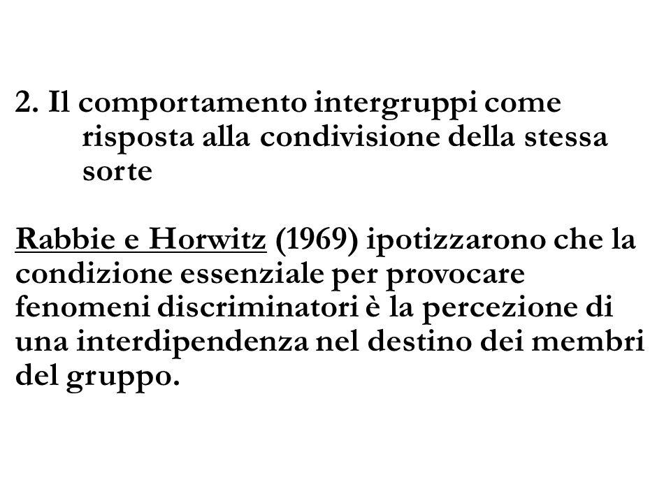 2. Il comportamento intergruppi come risposta alla condivisione della stessa sorte Rabbie e Horwitz (1969) ipotizzarono che la condizione essenziale p