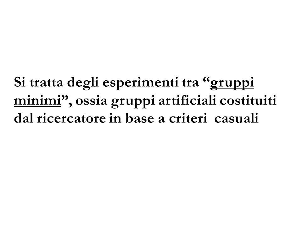 Si tratta degli esperimenti tra gruppi minimi, ossia gruppi artificiali costituiti dal ricercatore in base a criteri casuali