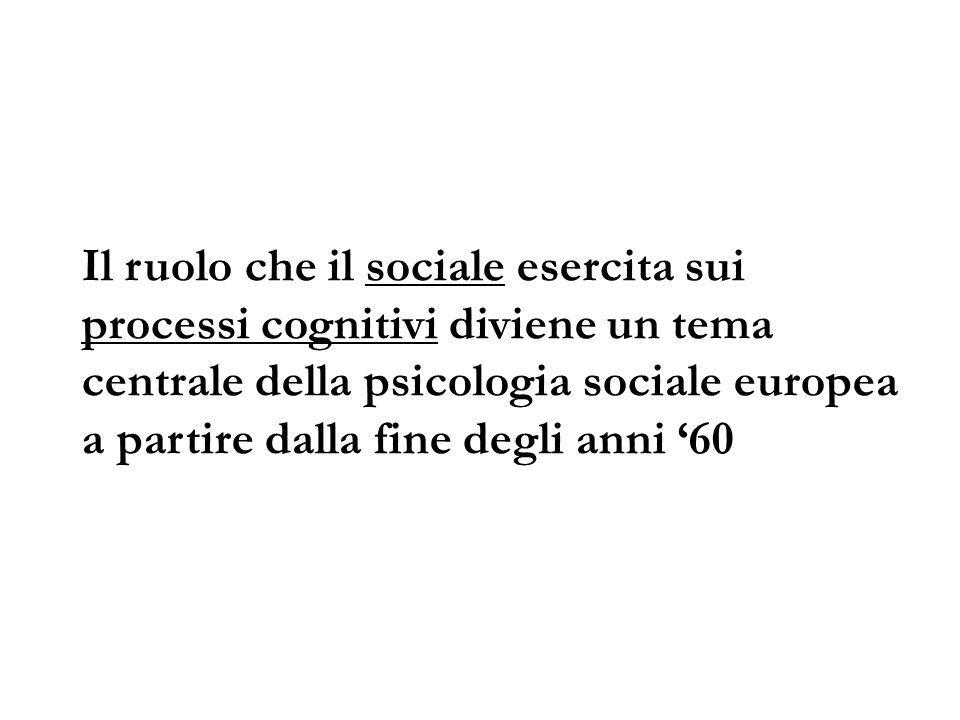 Il ruolo che il sociale esercita sui processi cognitivi diviene un tema centrale della psicologia sociale europea a partire dalla fine degli anni 60