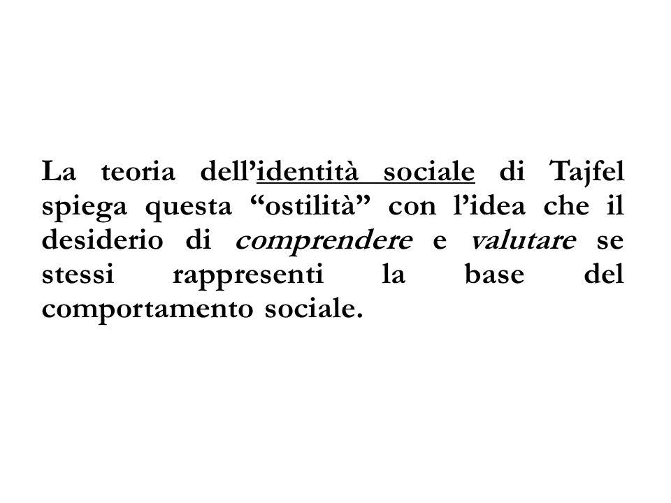La teoria dellidentità sociale di Tajfel spiega questa ostilità con lidea che il desiderio di comprendere e valutare se stessi rappresenti la base del