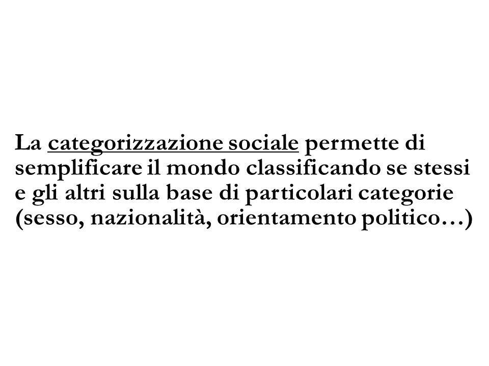 La categorizzazione sociale permette di semplificare il mondo classificando se stessi e gli altri sulla base di particolari categorie (sesso, nazional