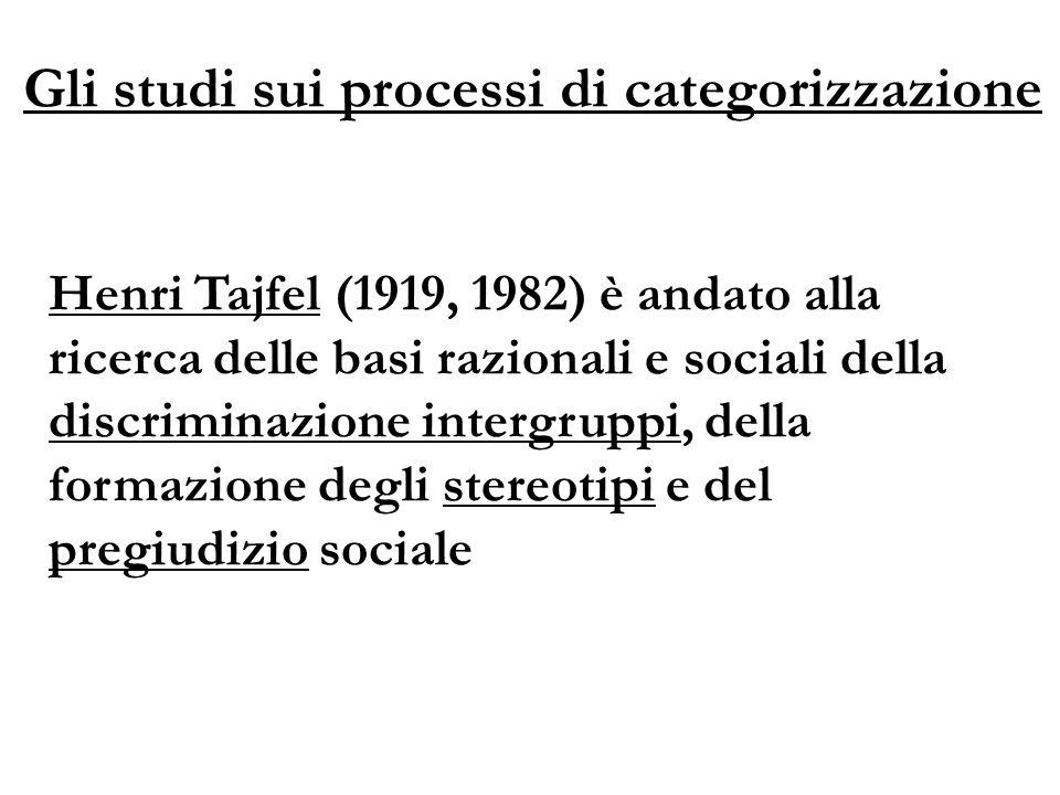 Henri Tajfel (1919, 1982) è andato alla ricerca delle basi razionali e sociali della discriminazione intergruppi, della formazione degli stereotipi e