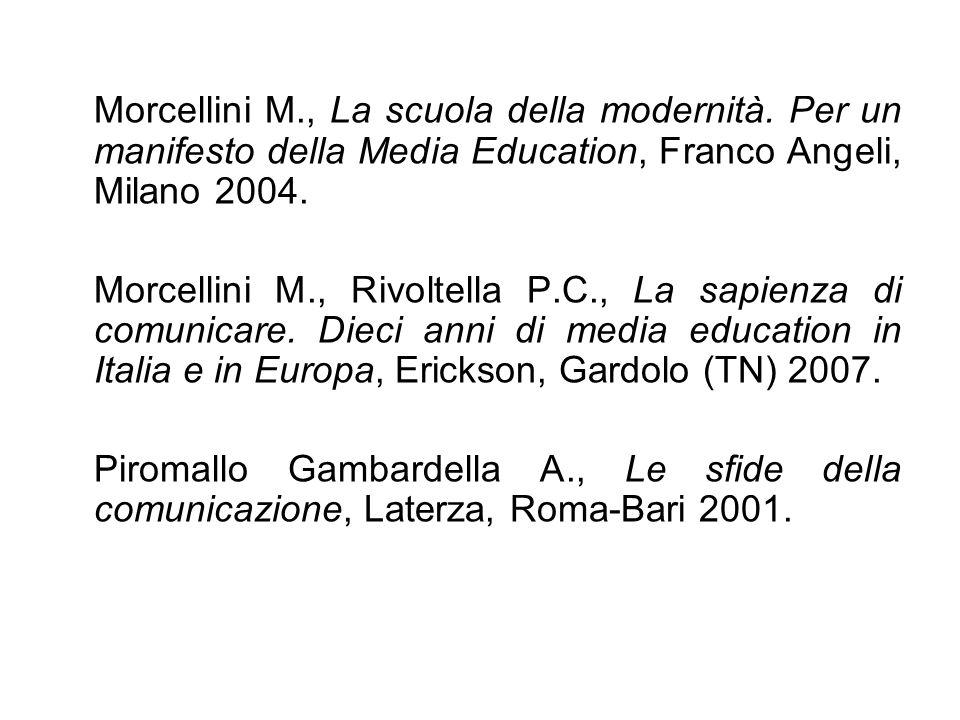 Rivoltella P.C., Media Education.Modelli, esperienze, profilo disciplinare, Carocci, Roma 2001.