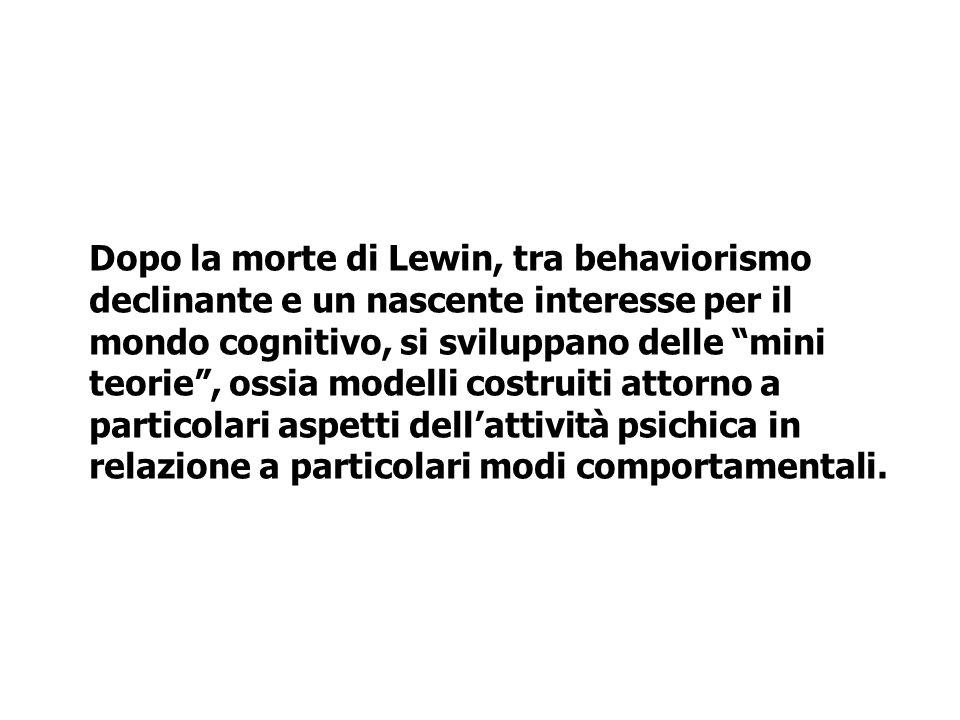 Dopo la morte di Lewin, tra behaviorismo declinante e un nascente interesse per il mondo cognitivo, si sviluppano delle mini teorie, ossia modelli cos