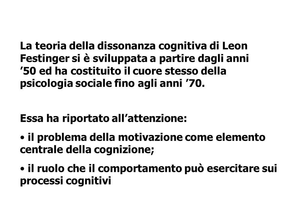 La teoria della dissonanza cognitiva di Leon Festinger si è sviluppata a partire dagli anni 50 ed ha costituito il cuore stesso della psicologia socia