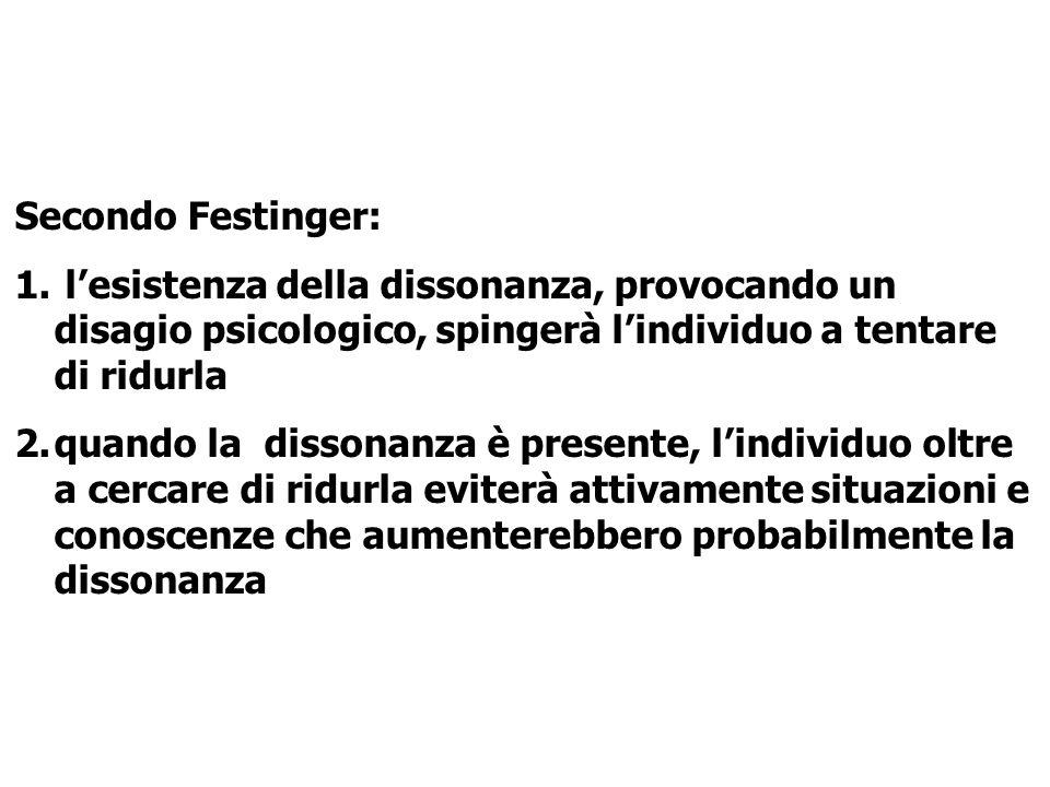 Secondo Festinger: 1. lesistenza della dissonanza, provocando un disagio psicologico, spingerà lindividuo a tentare di ridurla 2.quando la dissonanza
