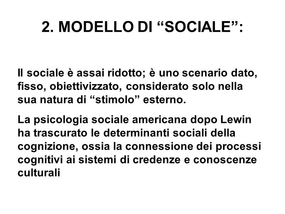 2. MODELLO DI SOCIALE: Il sociale è assai ridotto; è uno scenario dato, fisso, obiettivizzato, considerato solo nella sua natura di stimolo esterno. L