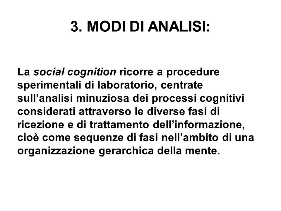 3. MODI DI ANALISI: La social cognition ricorre a procedure sperimentali di laboratorio, centrate sullanalisi minuziosa dei processi cognitivi conside