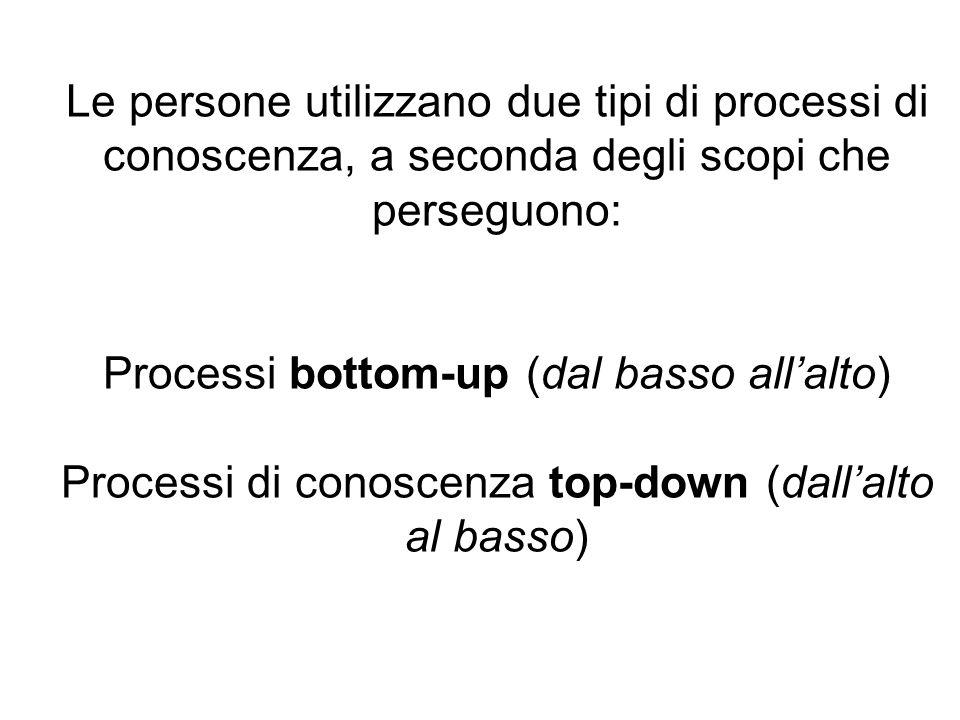 Le persone utilizzano due tipi di processi di conoscenza, a seconda degli scopi che perseguono: Processi bottom-up (dal basso allalto) Processi di con