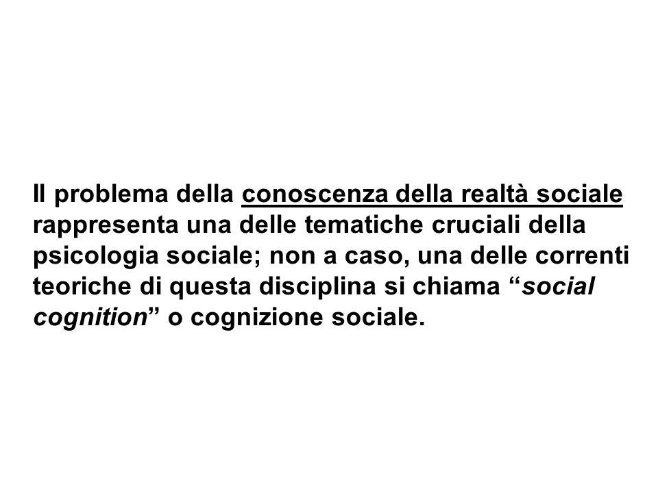Il problema della conoscenza della realtà sociale rappresenta una delle tematiche cruciali della psicologia sociale; non a caso, una delle correnti te