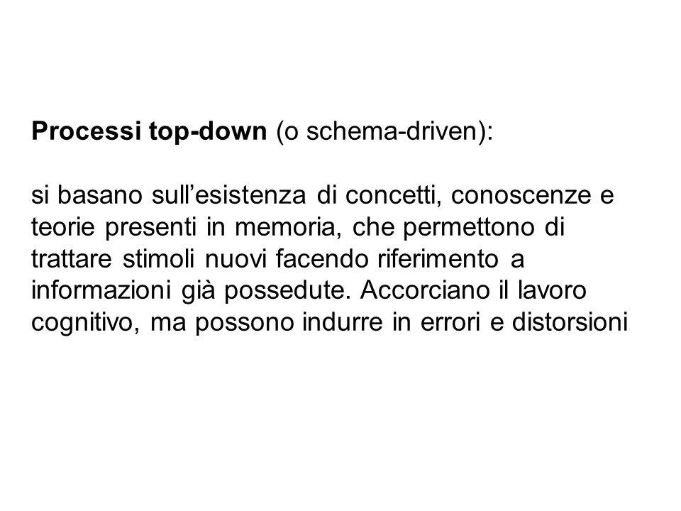 Processi top-down (o schema-driven): si basano sullesistenza di concetti, conoscenze e teorie presenti in memoria, che permettono di trattare stimoli