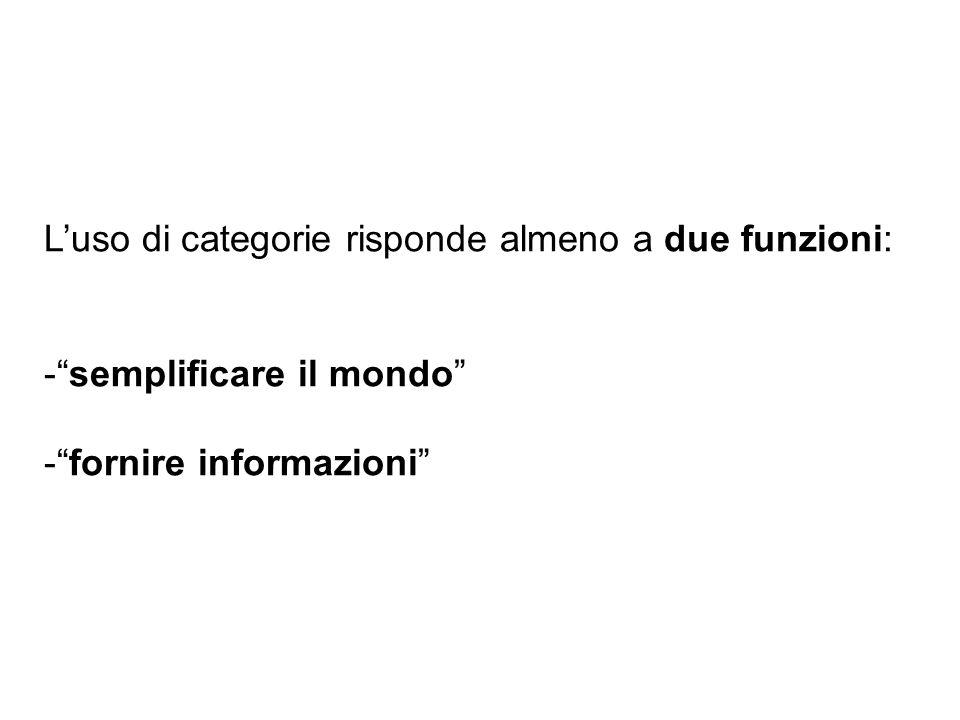 Luso di categorie risponde almeno a due funzioni: -semplificare il mondo -fornire informazioni
