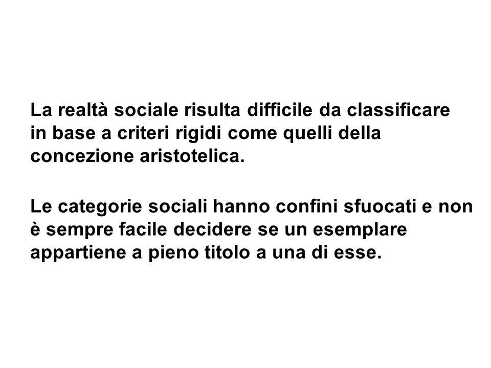 La realtà sociale risulta difficile da classificare in base a criteri rigidi come quelli della concezione aristotelica. Le categorie sociali hanno con