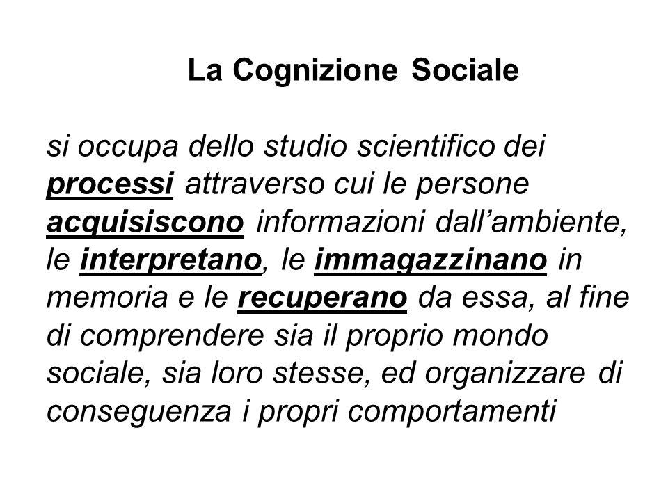 La Cognizione Sociale si occupa dello studio scientifico dei processi attraverso cui le persone acquisiscono informazioni dallambiente, le interpretan