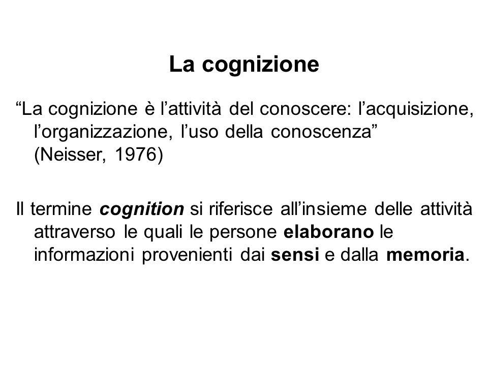 La cognizione La cognizione è lattività del conoscere: lacquisizione, lorganizzazione, luso della conoscenza (Neisser, 1976) Il termine cognition si r