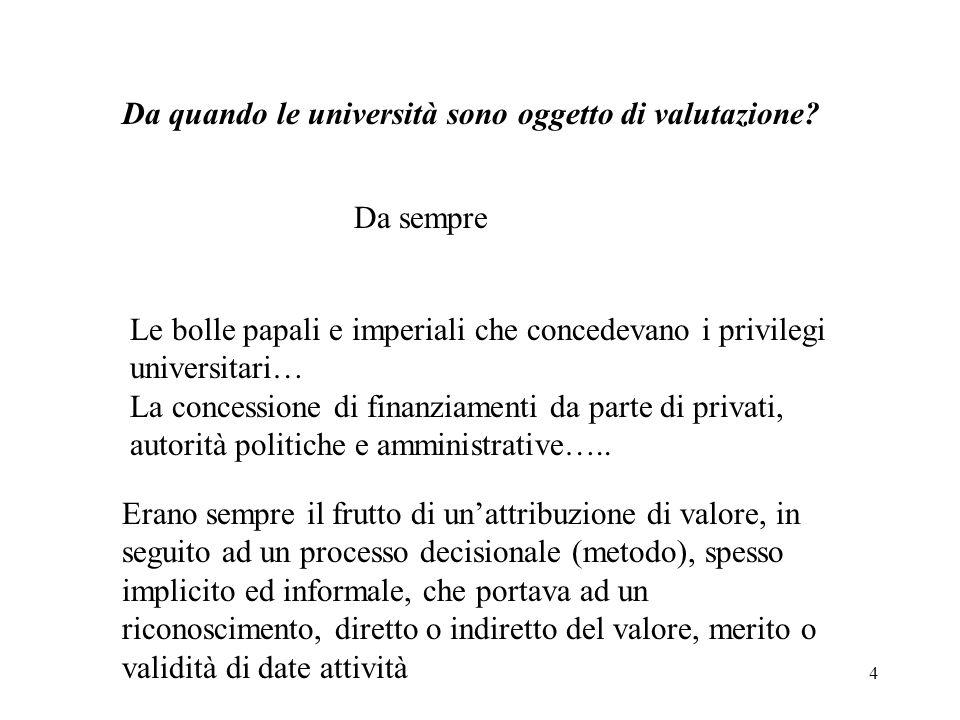 4 Da quando le università sono oggetto di valutazione? Da sempre Le bolle papali e imperiali che concedevano i privilegi universitari… La concessione