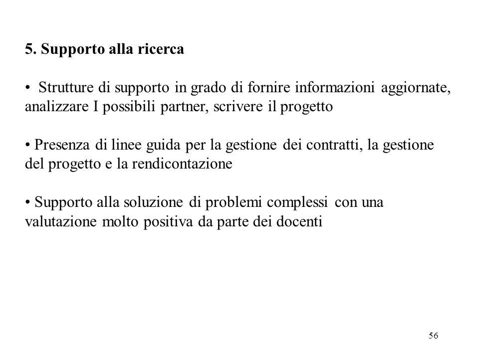 56 5. Supporto alla ricerca Strutture di supporto in grado di fornire informazioni aggiornate, analizzare I possibili partner, scrivere il progetto Pr