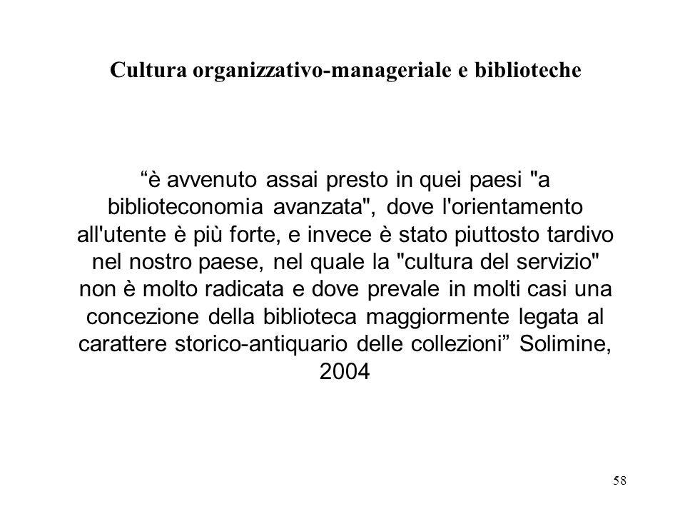58 Cultura organizzativo-manageriale e biblioteche è avvenuto assai presto in quei paesi