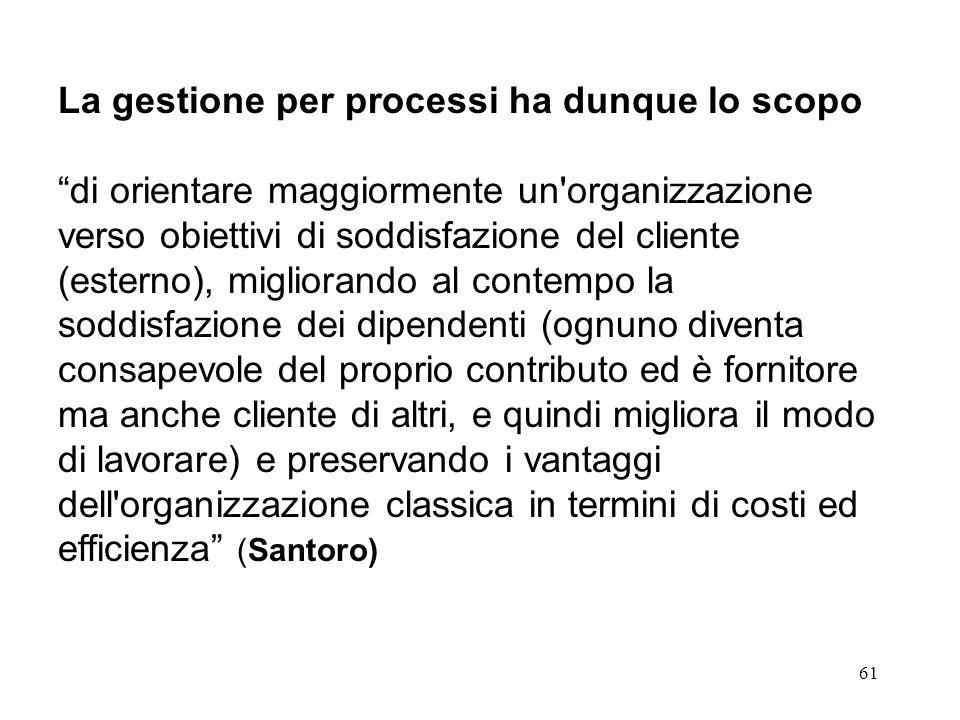 61 La gestione per processi ha dunque lo scopo di orientare maggiormente un'organizzazione verso obiettivi di soddisfazione del cliente (esterno), mig