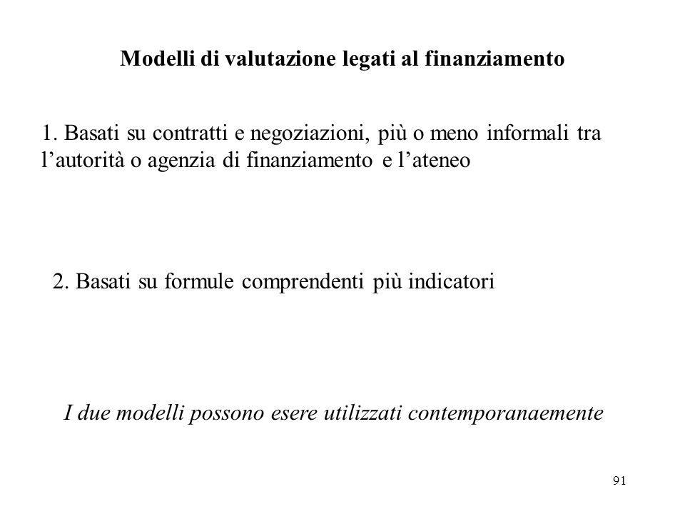 91 Modelli di valutazione legati al finanziamento 1. Basati su contratti e negoziazioni, più o meno informali tra lautorità o agenzia di finanziamento