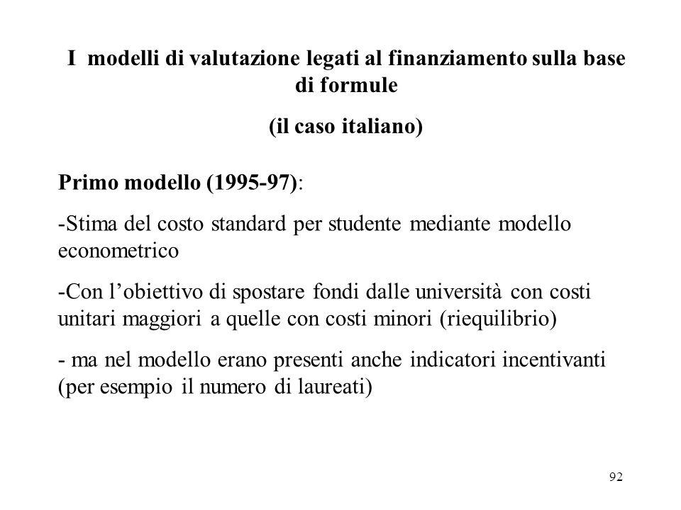 92 I modelli di valutazione legati al finanziamento sulla base di formule (il caso italiano) Primo modello (1995-97): -Stima del costo standard per st