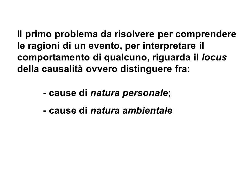 - cause di natura personale; - cause di natura ambientale Il primo problema da risolvere per comprendere le ragioni di un evento, per interpretare il