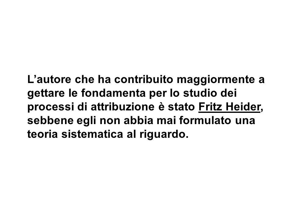 Lautore che ha contribuito maggiormente a gettare le fondamenta per lo studio dei processi di attribuzione è stato Fritz Heider, sebbene egli non abbi