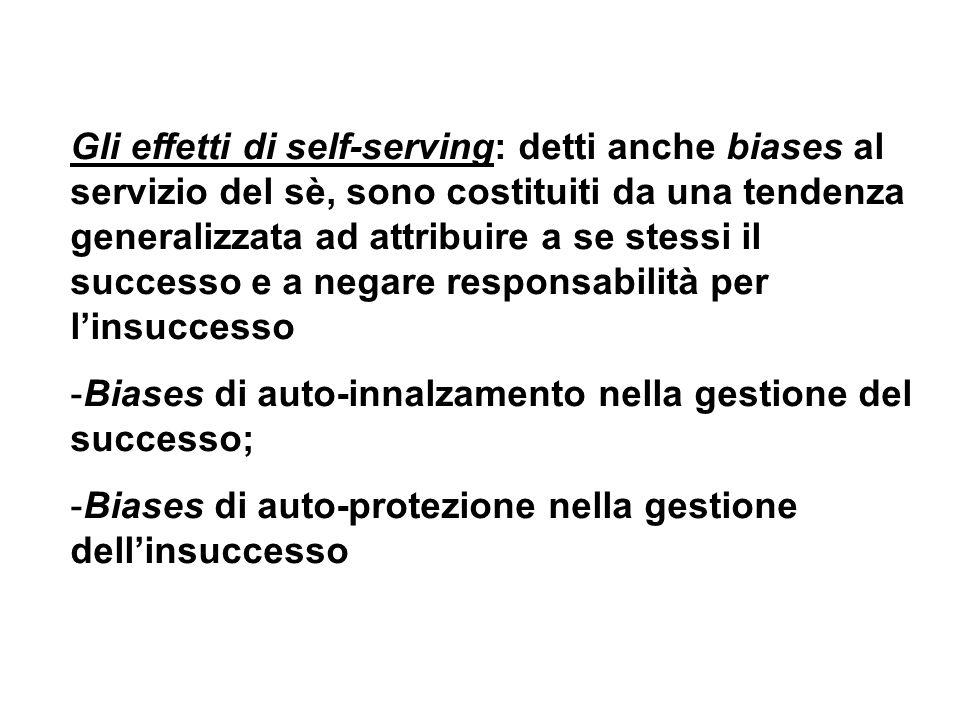 Gli effetti di self-serving: detti anche biases al servizio del sè, sono costituiti da una tendenza generalizzata ad attribuire a se stessi il success
