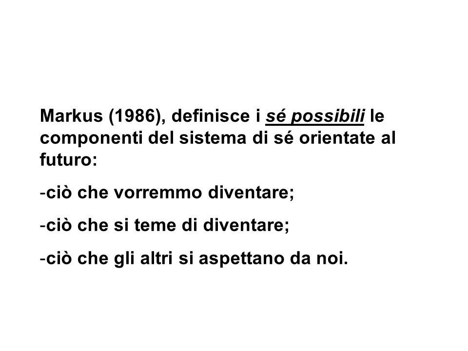 Markus (1986), definisce i sé possibili le componenti del sistema di sé orientate al futuro: -ciò che vorremmo diventare; -ciò che si teme di diventar