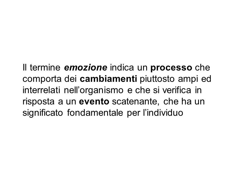 Il termine emozione indica un processo che comporta dei cambiamenti piuttosto ampi ed interrelati nellorganismo e che si verifica in risposta a un eve