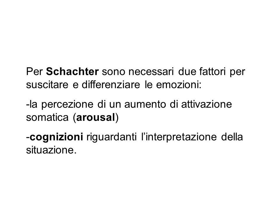 Per Schachter sono necessari due fattori per suscitare e differenziare le emozioni: -la percezione di un aumento di attivazione somatica (arousal) -co