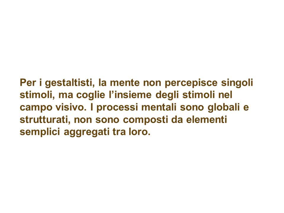 Per i gestaltisti, la mente non percepisce singoli stimoli, ma coglie linsieme degli stimoli nel campo visivo.