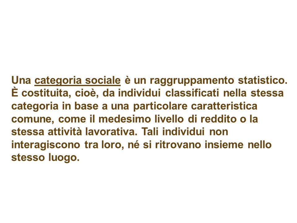 Una categoria sociale è un raggruppamento statistico.
