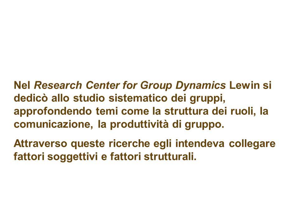 Nel Research Center for Group Dynamics Lewin si dedicò allo studio sistematico dei gruppi, approfondendo temi come la struttura dei ruoli, la comunicazione, la produttività di gruppo.