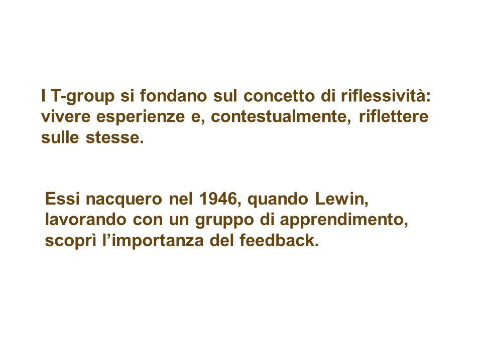 I T-group si fondano sul concetto di riflessività: vivere esperienze e, contestualmente, riflettere sulle stesse.