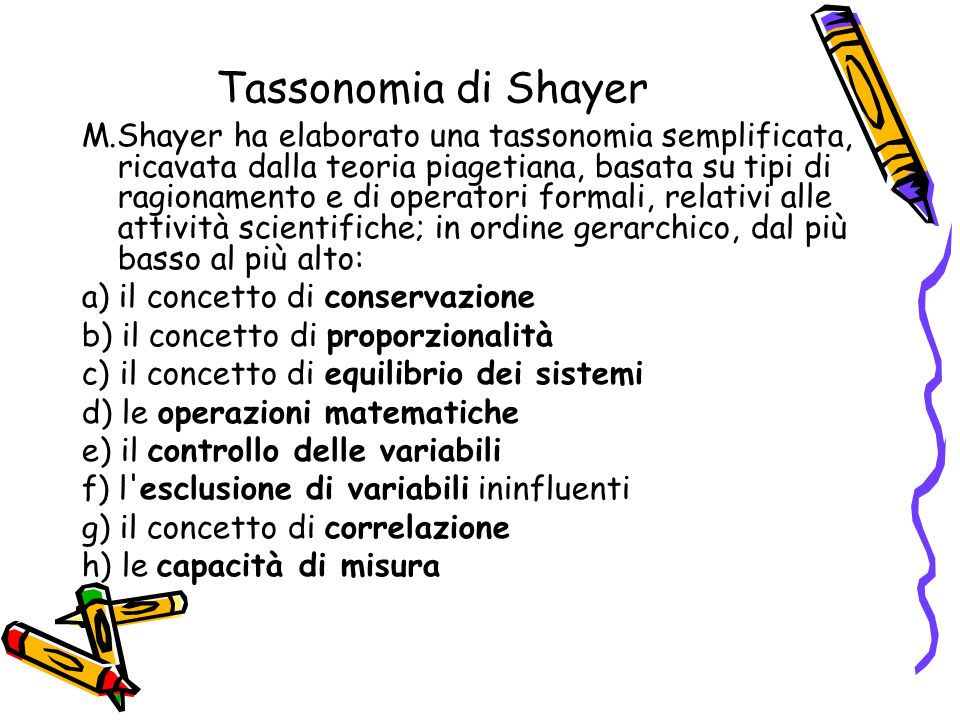 Tassonomia di Shayer M.Shayer ha elaborato una tassonomia semplificata, ricavata dalla teoria piagetiana, basata su tipi di ragionamento e di operator