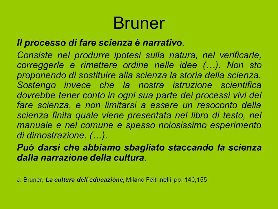 Bruner Il processo di fare scienza è narrativo. Consiste nel produrre ipotesi sulla natura, nel verificarle, correggerle e rimettere ordine nelle idee