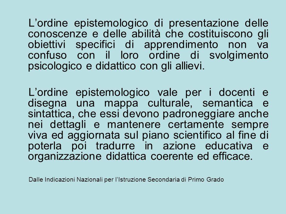 Lordine epistemologico di presentazione delle conoscenze e delle abilità che costituiscono gli obiettivi specifici di apprendimento non va confuso con